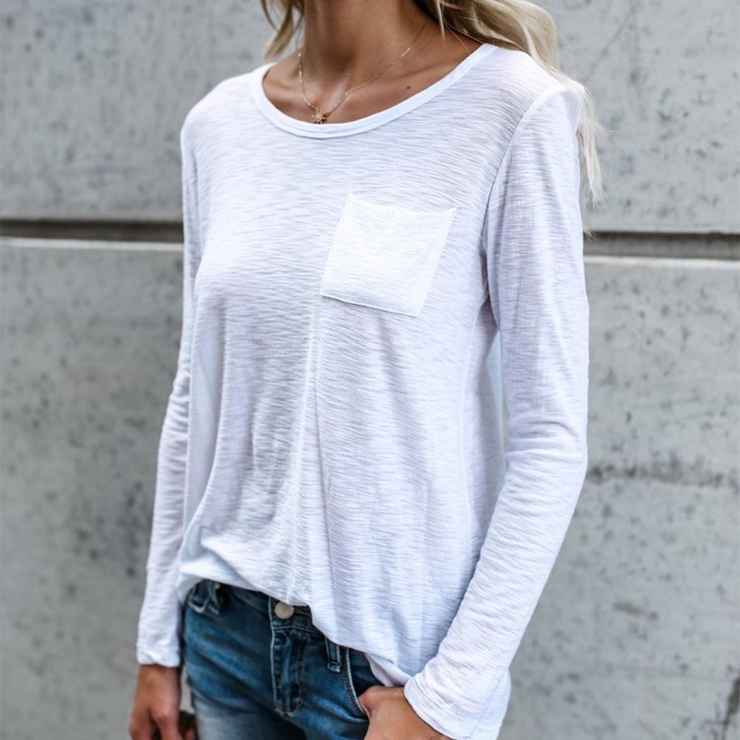cf63862386006 Acheter Nouveau Femmes Blanc Lâche T Shirt De Mode O Cou À Manches Longues  Poches De Base Chemises De Base Élastique De Couleur Unie Tops Tee Shirt  Femme De ...
