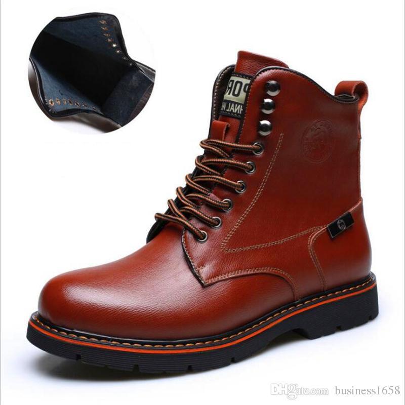 8e3eb7d794d Compre Botas De Cuero Genuino Para Hombre Primavera Otoño Invierno Cuero De  Vaca Zapatos Para Hombre Botines Para Hombre Zapatos De Nieve Para Hombre  ...