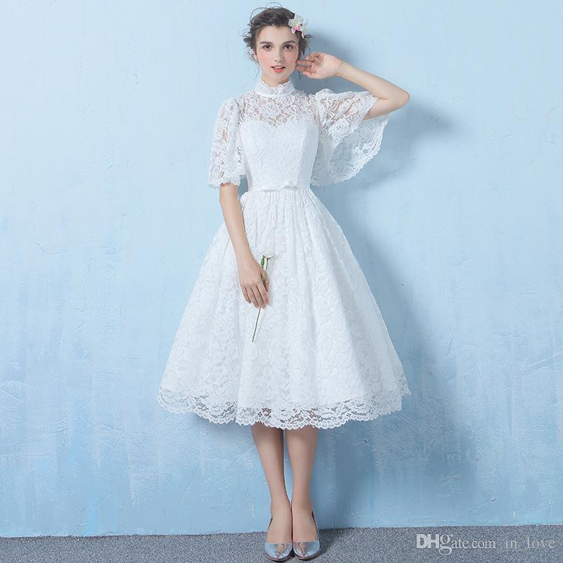 50s Vintage Style Tea Length Wedding Dresses High Neck Half Sleeve Full Lace A Line Short Bridal Gowns Custom Made