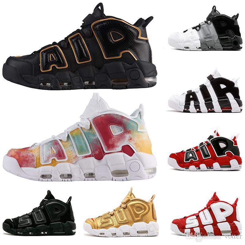 new style c2cc0 a6d00 Acquista UK Francia Città EU GOLD Tri Color Flax Air Più Uptempo QS Olympic  Varsity Gym Rosso Mens Scarpe Da Basket 3M Scottie Pippen Sport Sneakers A  ...