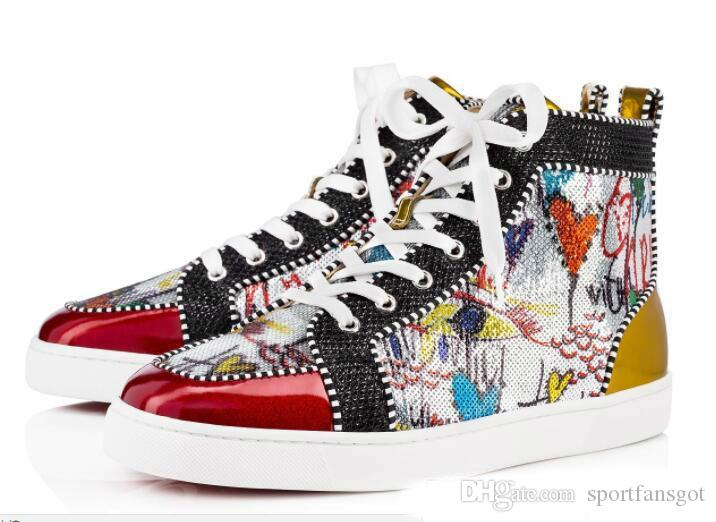 a54011624ce Season Red Bottom Sneakers Men Shoes Luxury Print Silver Pik Pik No Limit  RARE Studs And Rhinestones Graffiti Running Shoes For Men Running Shoes Men  From ...