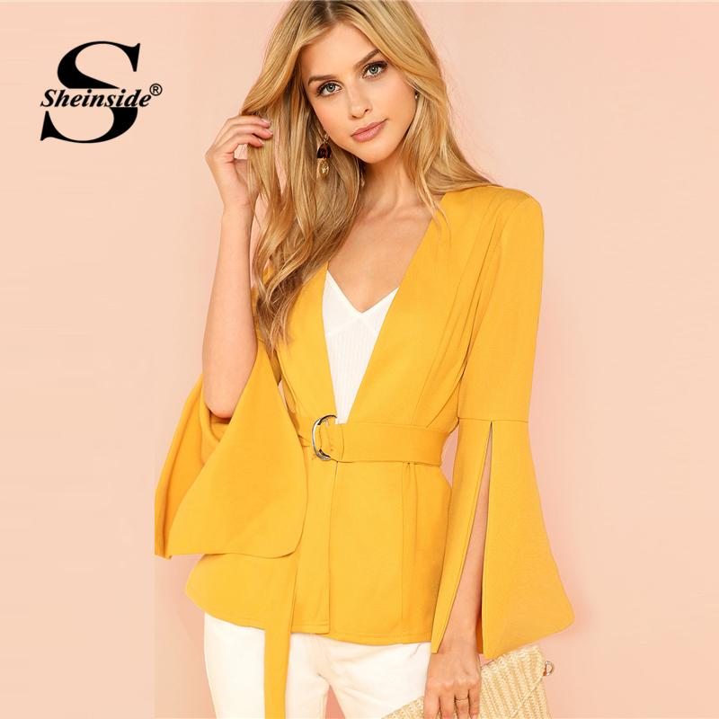 Sheinside Yellow Split Sleeve Belted Office Ladies Workwear Elegant Outerwear Women Plain Long Sleeve Wrap Autumn Coat