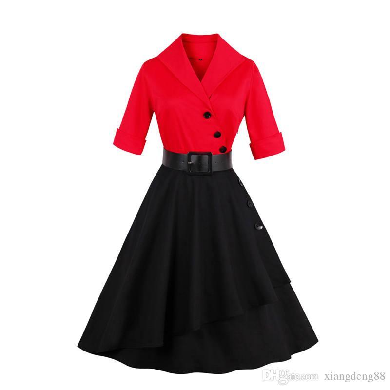 1314326f2758a Elegant Womens Patchwork Big Swing Dress Autumn Winter 3/4 Sleeve 50s Plus  Size Housewife Retro Rockabilly Party Dress Hot Sale Cocktail Dresses Teens  Dress ...