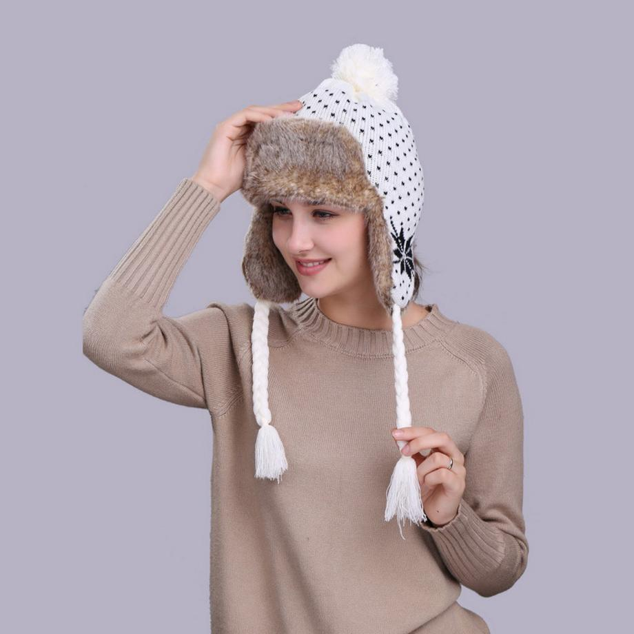 Casual Women's Bomber Hats Russian Winter Hats Keep Warm Knitting Hat Fashion Fur Earmuff Thick Snow Cap Outdoor Snow Ski Cap