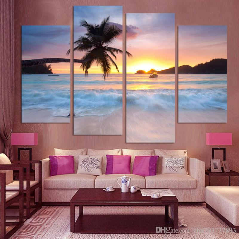 Frame HD Pictures For Room Home Decoration 4 Pieces Coconut Sunset Beach Sea View Wall Art Canvas Painting Modern Oil Posters