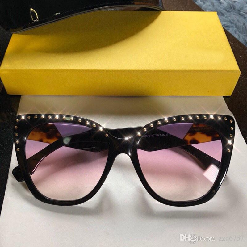 830d8d831e93 2018 New Fashion Designer Sunglasses 0335 Charming Cat Eye Frame With Rivet  Stitching Color Legs Top Top Quality Popular Style Sunglasses Eyeglasses  From ...