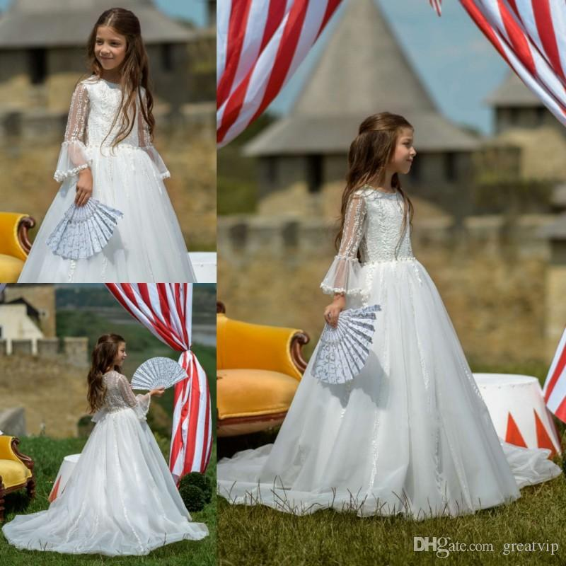 af855ac9ad1 Flower Girl Dress Trumpet Long Sleeve Jewel Lace Applique Beaded Kids Girls  Pageant Party Prom Dress Communion Robes De Fête Little Girls Formal Dresses  My ...