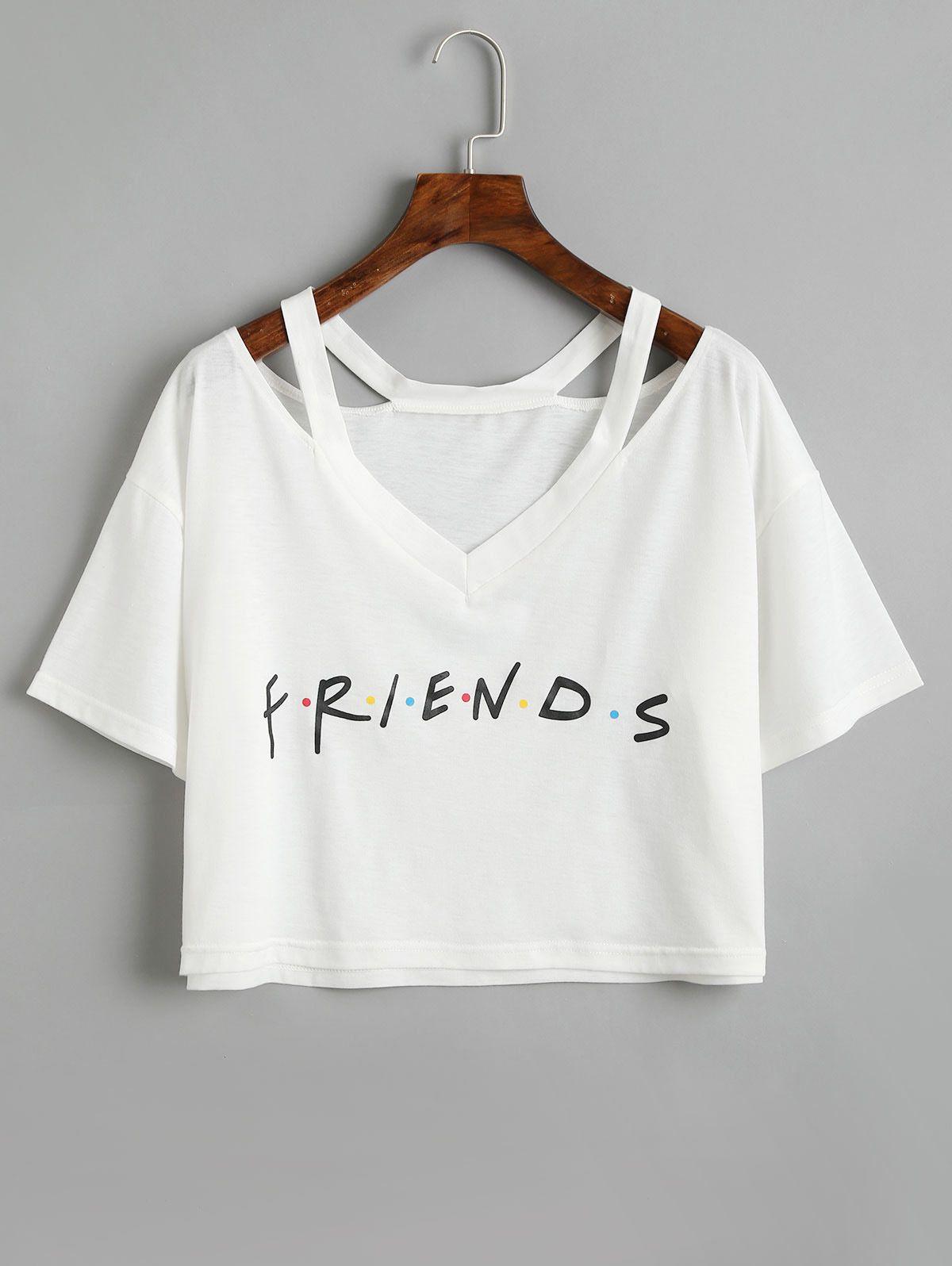 fc8c320a8a 2019 Friends Women Crop Tops Tee Shirt White Summer Short Sleeve Clothes  Bandage Blouses   Shirts Femme 2018WS6422U From Bibei03