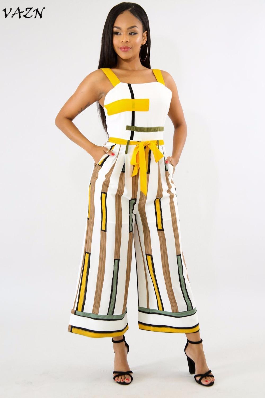 63f196a705f 2019 VAZN Hot Fashionable Popular 2018 Sweet Women Jumpsuit Striped Tank  Strapless Backless Belt Maxi Boot Cut Romper 5058 From Vikey10