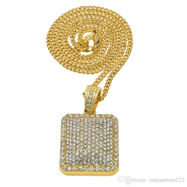 New Hip-Hop Necklace Jewelry Heavy Gold Silver Full Of Rhinestone Hip Hop  Tide Dog Tag Men And Women Fashion Chain For Gift Hip-Hop Necklace  Rhinestone ... 1024b4cac559