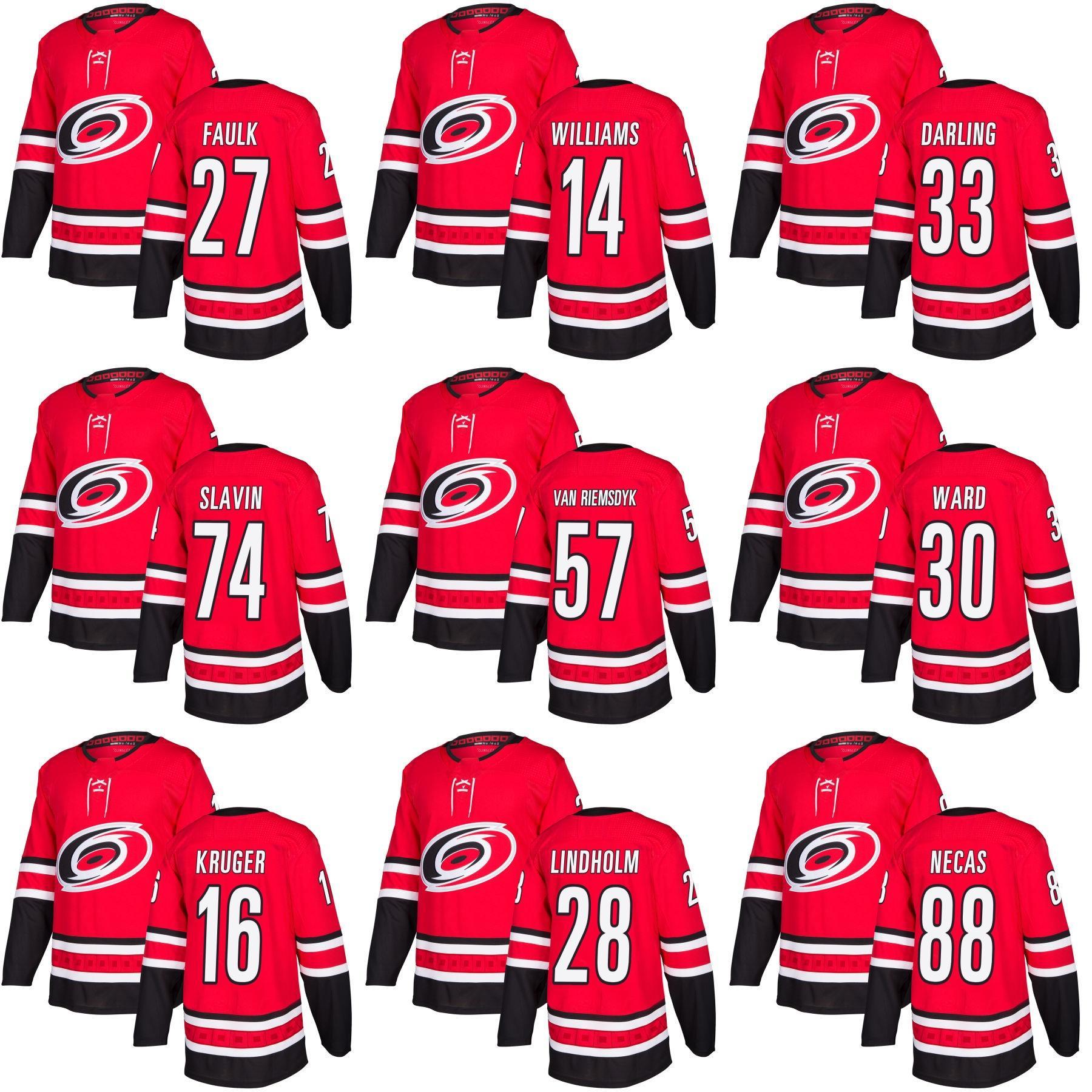 53810c503 2019 Mens 2018 New Arrivals Carolina Hurricanes Justin Faulk 14 Justin  Williams Scott Darling 74 Jaccob Slavin 30 Cam Ward Home Hockey Jerseys From  Probowl, ...