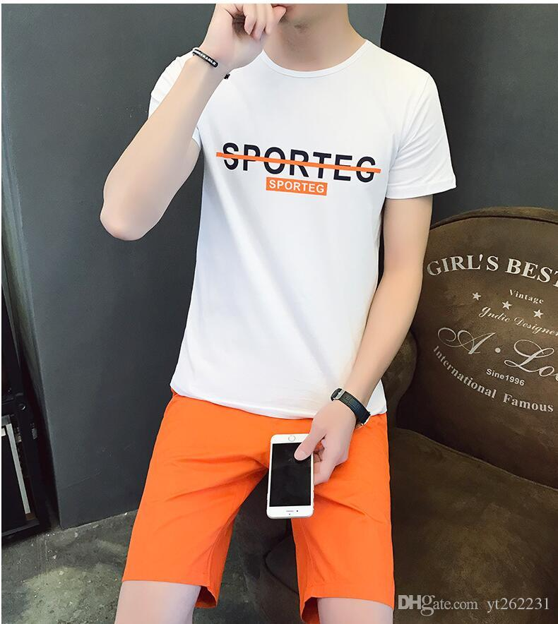 2018 Brand Casual Suit Men Summer Sets Active Tracksuits for Mens Stand Collar s Vetement Homme Streetwar Tops Tees & Shorts Set