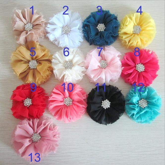 Chiffon Flower With Diamond For Baby Headbands Hair Clips Girls Corsage Flower Hair Accessories Shabby Flowers DIY Photography props