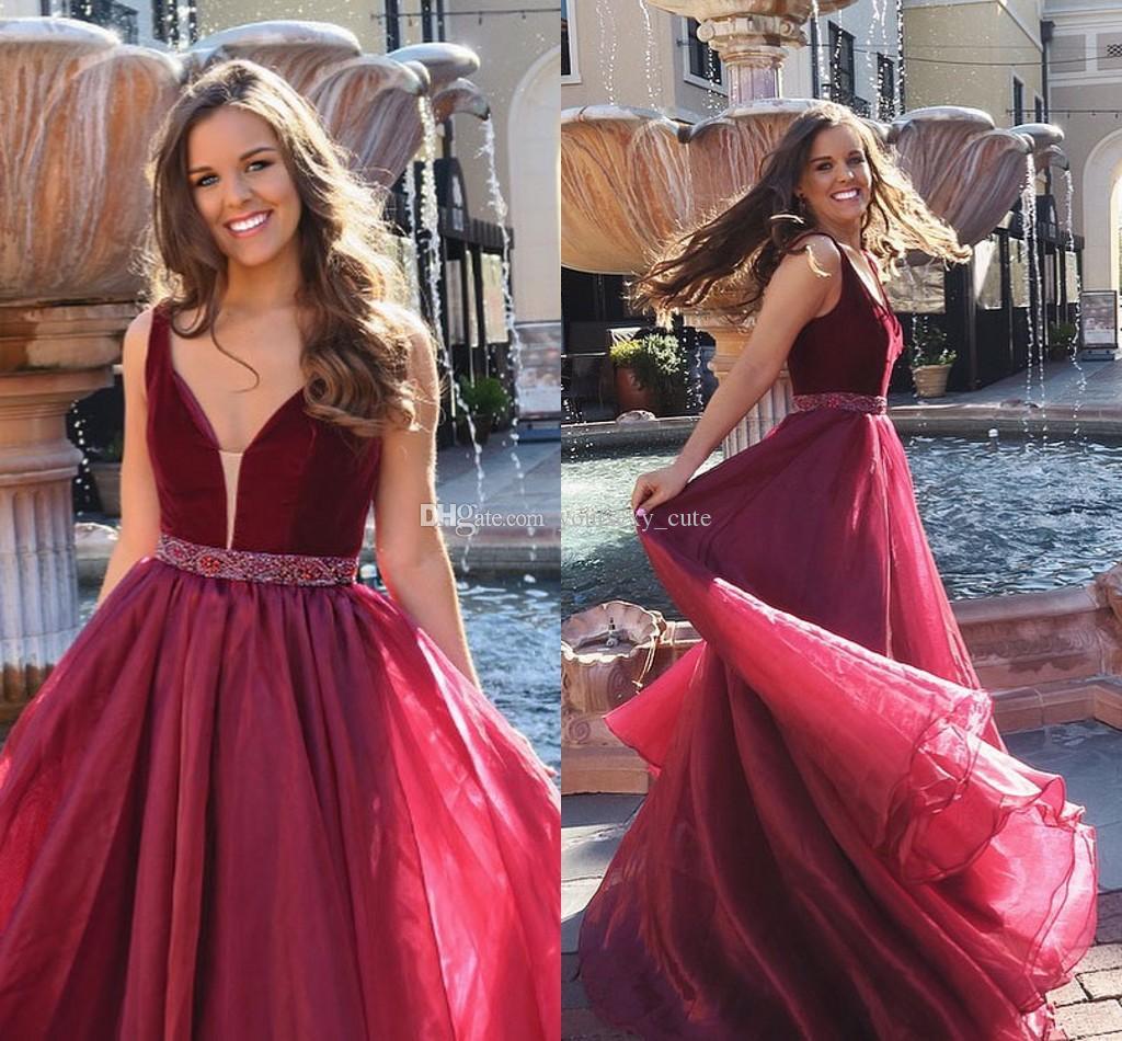 7d48d684623 Burgundy Ball Gown Prom Dresses Elegant V Neck Velvet Organza Crystal  Beaded Floor Length Sweet 16 Dresses Party Dresses Shoes For Prom Short Red  Prom ...