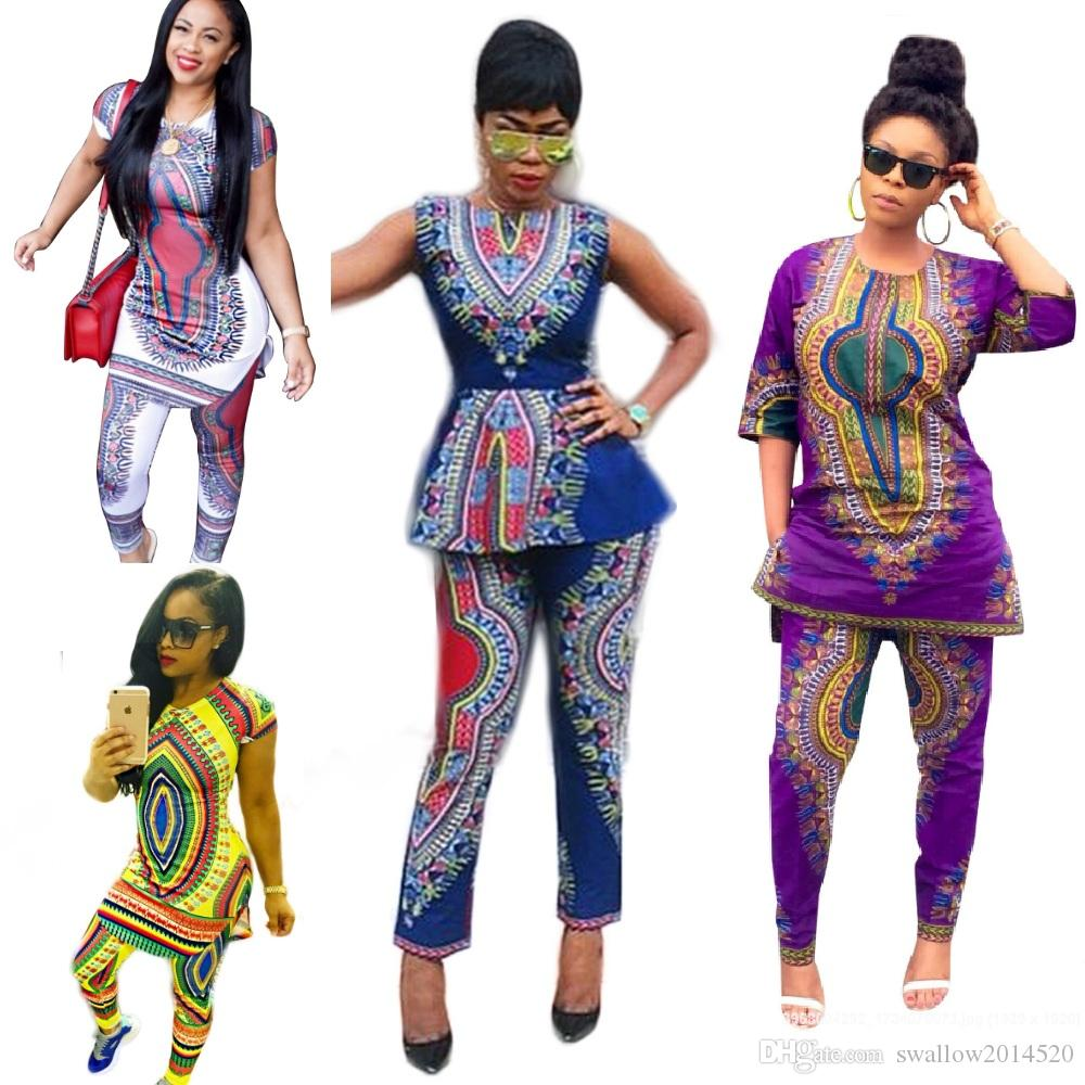 4 Styles Formal Pantalone due pezzi Tradizionale Africano Dashiki Gilet senza maniche Top Skinny Pants Bordo Party Evening Pant Set Clubwear