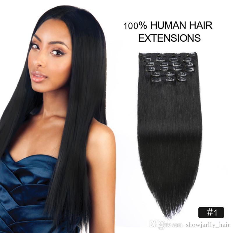 Black Cheap Clip In Human Hair Extensions 18inch 150g Silk Straight