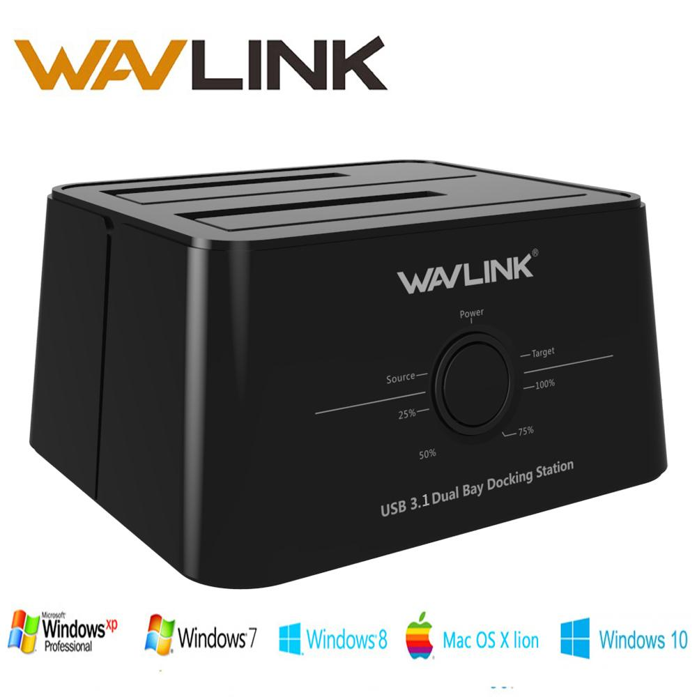 Wavlink USB 3.1 TypeC to SATA Dual Bay Docking Station 2.5/3.5 SSD HDD SATA 1/2/3 Enclosure For 2*8 TB with Offline Clone Backup