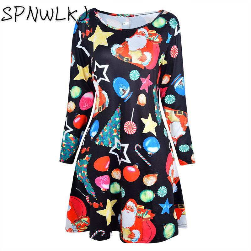 5d9dadeb73459 2018 New Autumn Winter Women Casual Long Sleeve Cute Christmas Tree Snowman  Dresses Loose Party Dress Vestidos Large Sizes Dresses Cheap Dresses 2018  New ...