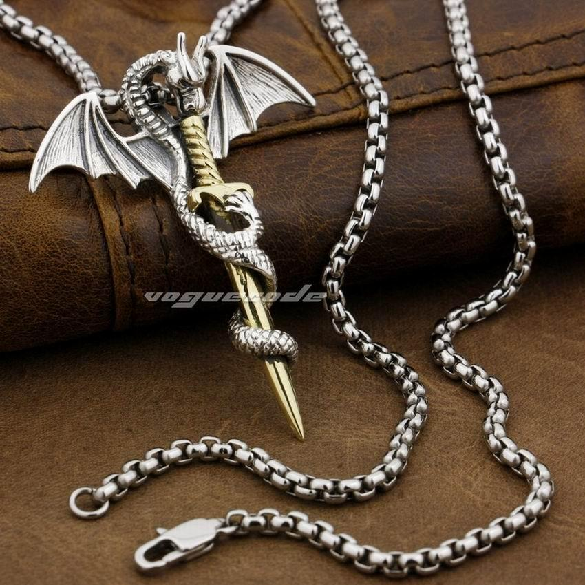 LINSION 925 Sterling Silver Flying Dragon Brass Sword Mens Biker Pendant 8P027 Steel Necklace 24 inches