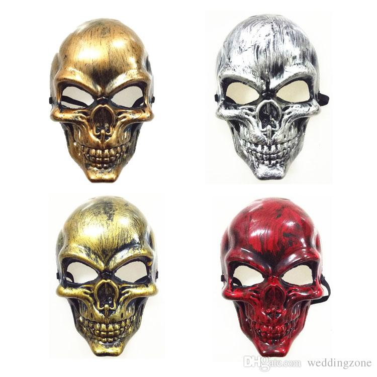 Full Face Skull PVC Zombie Skeleton Mask 4 Colors Halloween costume Masquerade Party Cosplay Mask Show Decoration