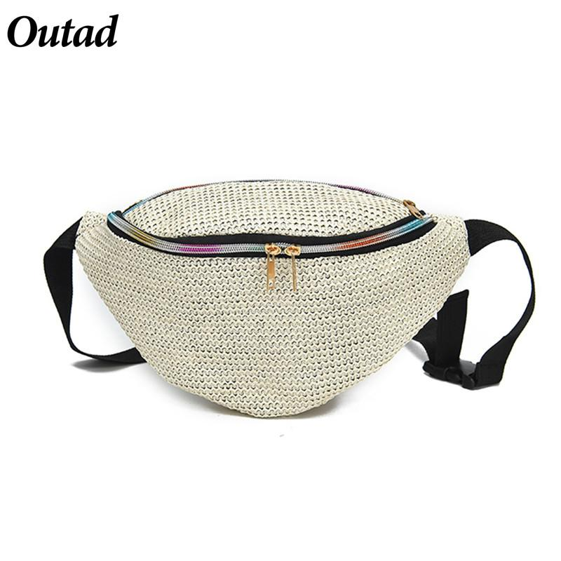 d1cca953dd23 2018 New Fashion Women Fanny Pack Women s Weave Shoulder Belt Waist Bag  Pouch Pocket Chest Bag Straw Woven Waist Pack XB5201