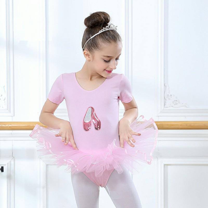 f4f9483072 Compre Ballet Leotards Para Meninas Doce Rosa Ballet Vestido De Verão  Vestido De Manga Curta Para As Crianças Lantejoulas Sapatos Traje De Dança  De Weilad