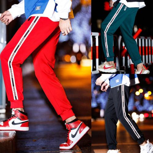 ddcb61dbb3c2 Mens Casual Straight Pants 2018 New Letter Side Jogger Dance Sportwear Long Pants  Slacks Sweatpants Trousers M-2XL Casual Pants Cheap Casual Pants Mens ...