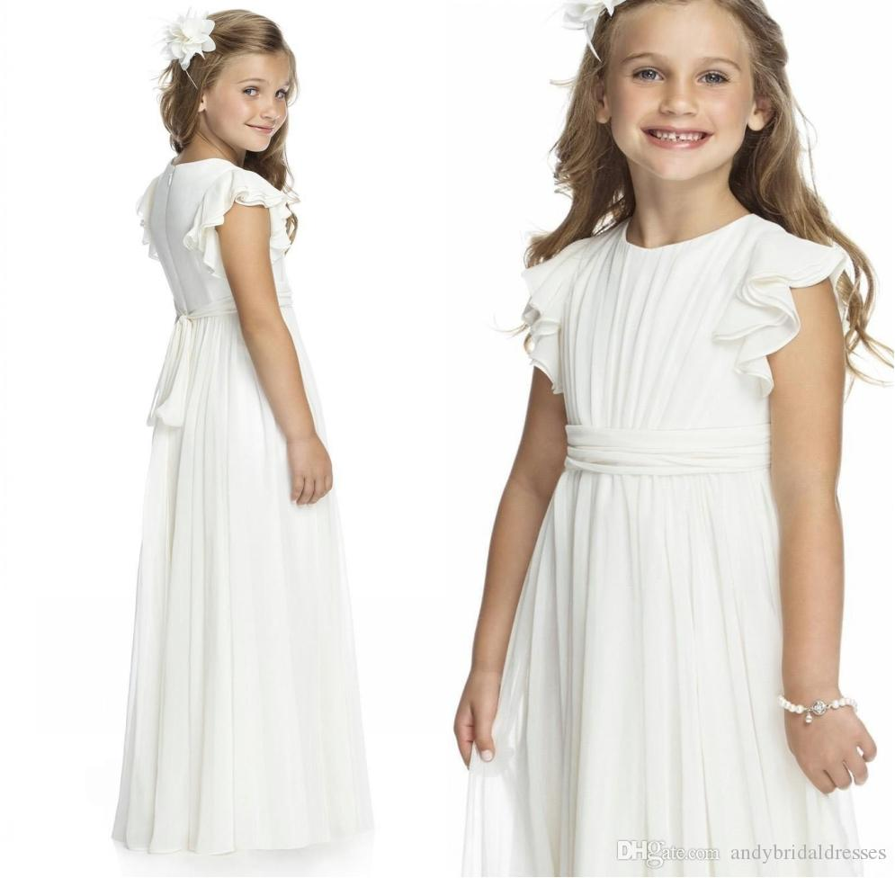 9498d9cf085 Ivory Chiffon Long Floor Length Flower Girls Dresses For Weddings 2019 A  Line Short Sleeve Custom Made Cheap First Communion Gowns Flower Girl Dress  Ivory ...
