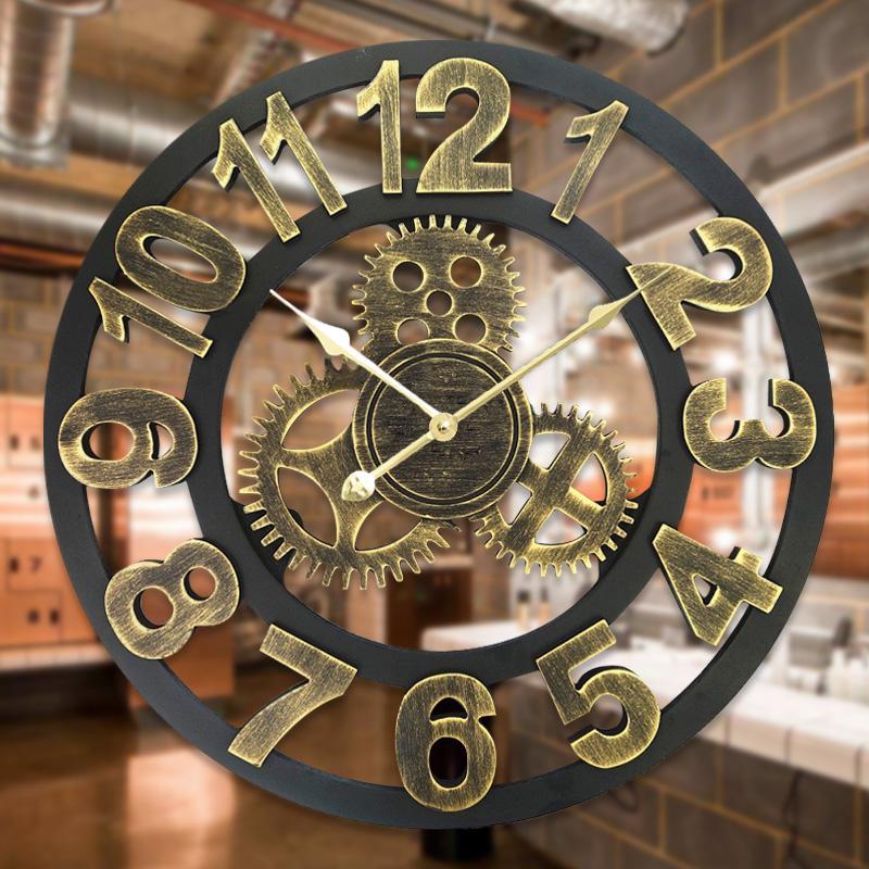 3D Retro Decorative Luxury Art Big Gear Wooden Vintage Large Wall Clock For Gift Home Decor 16 20 Inch Oversized Clocks Digital