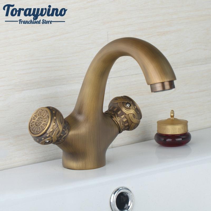 2018 Bathroom Faucet Antique Brass Torneiras Pia De Banheiro Kitchen ...