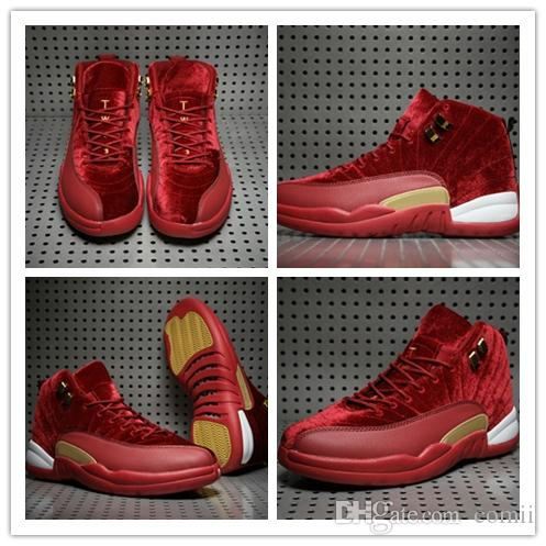 49d46f35cd43 New 12 Red Velvet Basketball Shoes Men 12s XII Sports Shoes Mens Trainers  Athletic Sneakers 2018 For Sale Shoes Size US8 13 Shoes Sports Sports Shoes  For ...