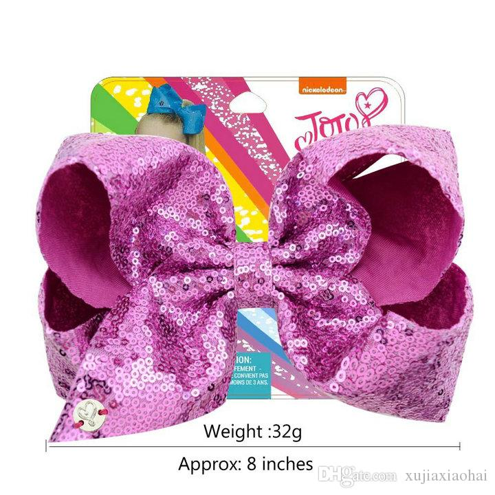 new style JOJO Bow paillette big bowknot 8 Inchs Mixed Girl bobby pin flashing baby hair accessories with cardboard