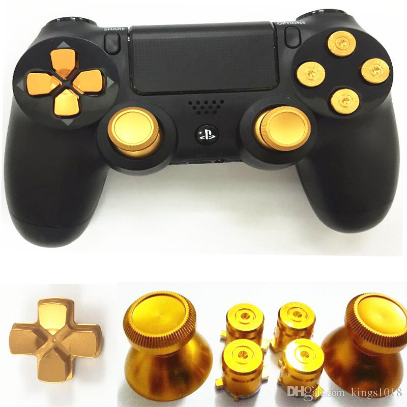 Golden Metal Analog thumb sticks Arrow D-pad 9mm Bullet Buttons Mod Kit For  Sony Playstation PS4 Dualshock 4 Controller Gamepad