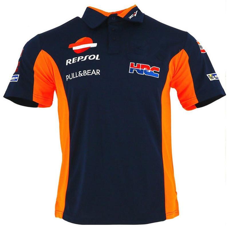 5bfe8efb7 Compre 2018 Temporada De MotoGP Racing Team Algodão Polo T Shirt Repsol  Motocicleta Golfe T Camisas Esporte Ciclismo Ciclismo Polo T Laranja   Azul  De ...