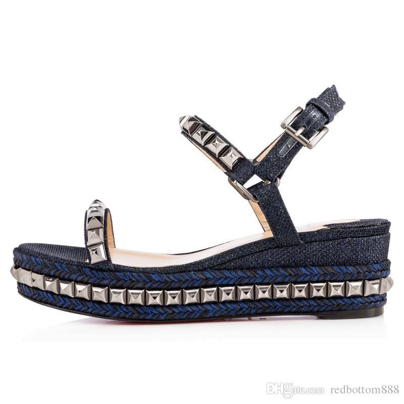 9649c61dee9 Summer Red Bottom Cataclou 60mm Embellished Patent-leather Studded Platform  Wedge Sandals For Women,Luxury Brnad Walking Flats 35-42