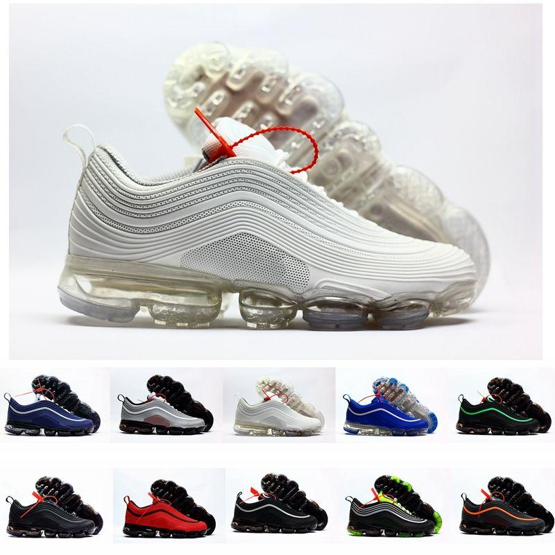 b3122921 Compre Nike Air Vapormax 97 Air Max 97 Nuevos Chaussures 97 Plus Kpu Ultra  OG Triple Negro Blanco Caucho 97s Hombres Zapatillas De Running Para Hombre  ...