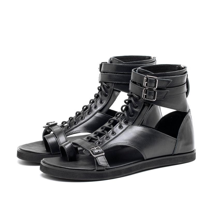 0f52daf04 Compre Blanco Chancletas Negras Tobillo Gladiadores Pisos Hebilla De Cuero  Genuino Con Cordones Estilo Punk Sandalias De Verano Zapatos Ocasionales Al  Aire ...