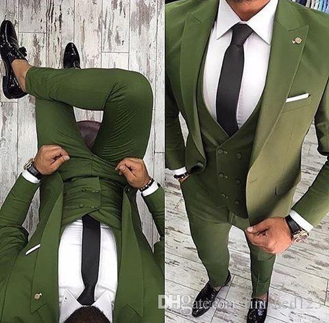 High Quality One Button Olive Green Groom Tuxedos Peak