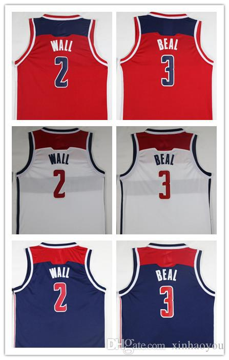 huge discount 33393 f99de Wholesale Fan Free Shipping 2018 New Cheap 2# Wall jerseys Red White 3#  Beal Basketball Jersey Embroidery Logos John Wall jerseys
