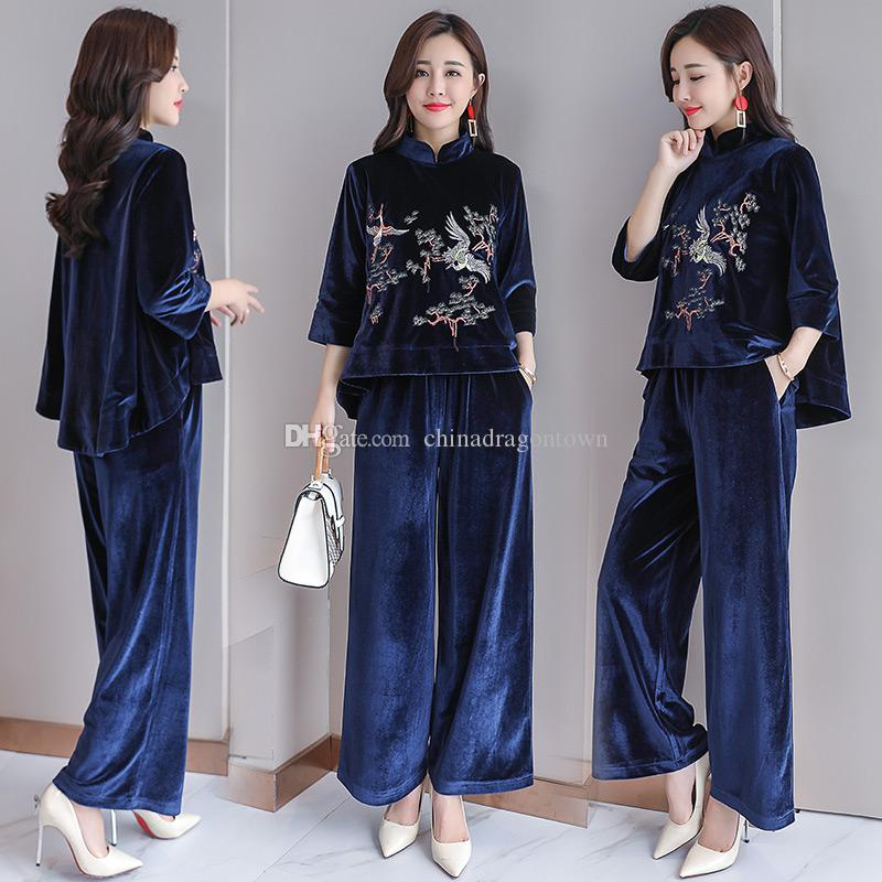 520613484025 2019 Spring Autumn Folk Style Traditional Chinese Costume Embroidered Tang  Suit Chinese Elegant Ethnic Clothing Top+Pant Garment Sets From  Chinadragontown