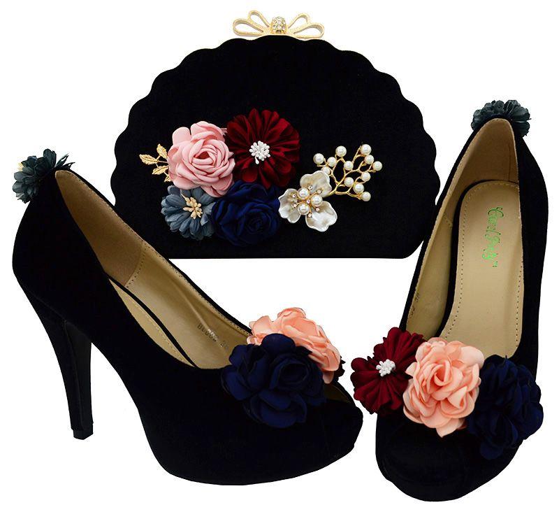 Maravilhoso L. roxo mulheres bombas com flor decoração sapatos africanos jogo da bolsa bolsa para senhora vestir BL002 calcanhar 11 CM
