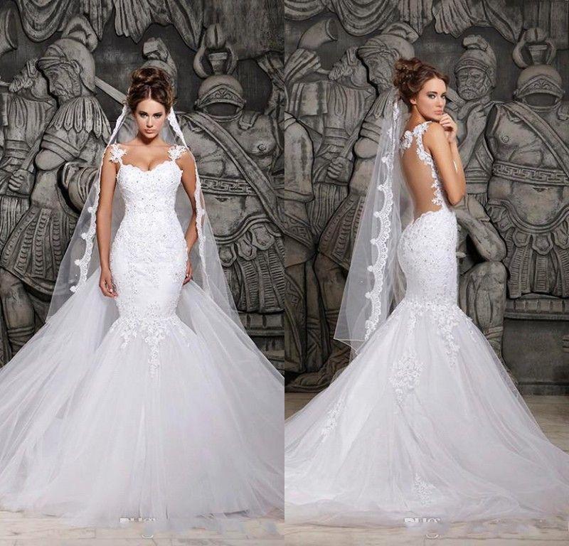 8e026668acca Cheap In Stock Berta Sexy Sheer Back Mermaid Wedding Dresses Spaghetti Straps  Lace Appliqued Bridal Gown Saudi Arabia Vestidos De Noiva Mermaid Tail  Wedding ...
