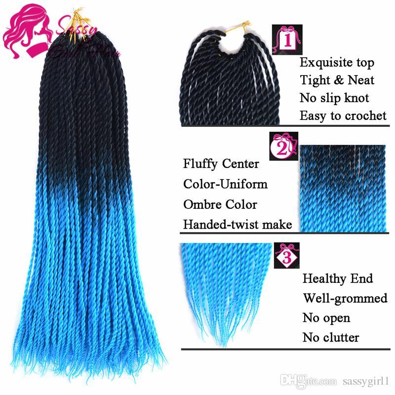 "5Packs 24"" Twist Crochet Hair Mambo Twist Senegalese Crochet Braids Braiding Hair Black-Sky Blue SASSY GIRL"