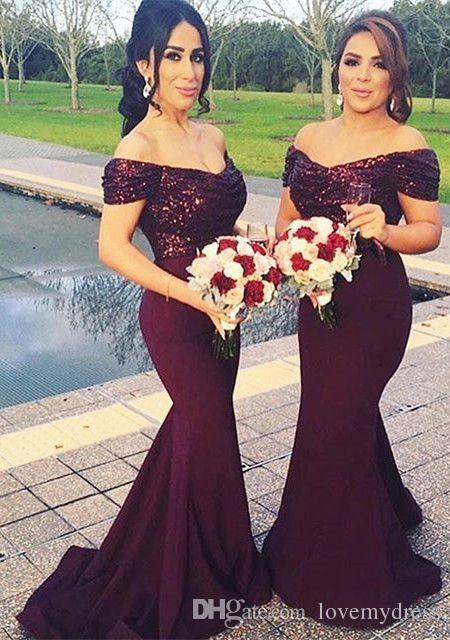 Moda borgoña sirena vestido de dama de honor largo 2018 fuera del hombro con mangas cortas con lentejuelas noche de baile vestidos formales para las mujeres