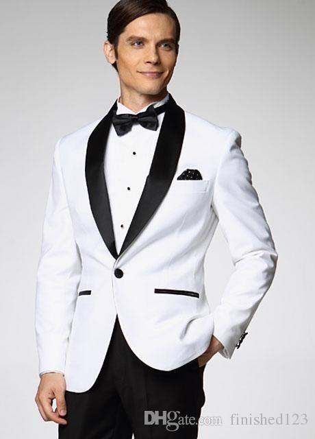 White Jacket With Black Satin Lapel Groom Tuxedos Groomsman Best Man Suit Mens Wedding Suits (Jacket+Pants+Bow Tie) ok:308