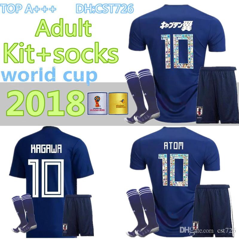 men kit+socks 2018 World Cup Japan home blue Soccer jersey OKAZAKI KAGAWA HASEBE NAGATOMO jerseys 2018 2019 japan Football shirt
