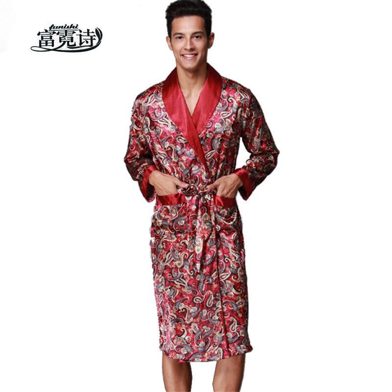 dd26524558b7d Acheter Sexy Satin V Cou Robe Faux Soie Spa Manches Longues Maison Kimono  Peignoir Homme Vêtements De Nuit Vêtements De Nuit Mode Dressing Robe De  $46.73 Du ...
