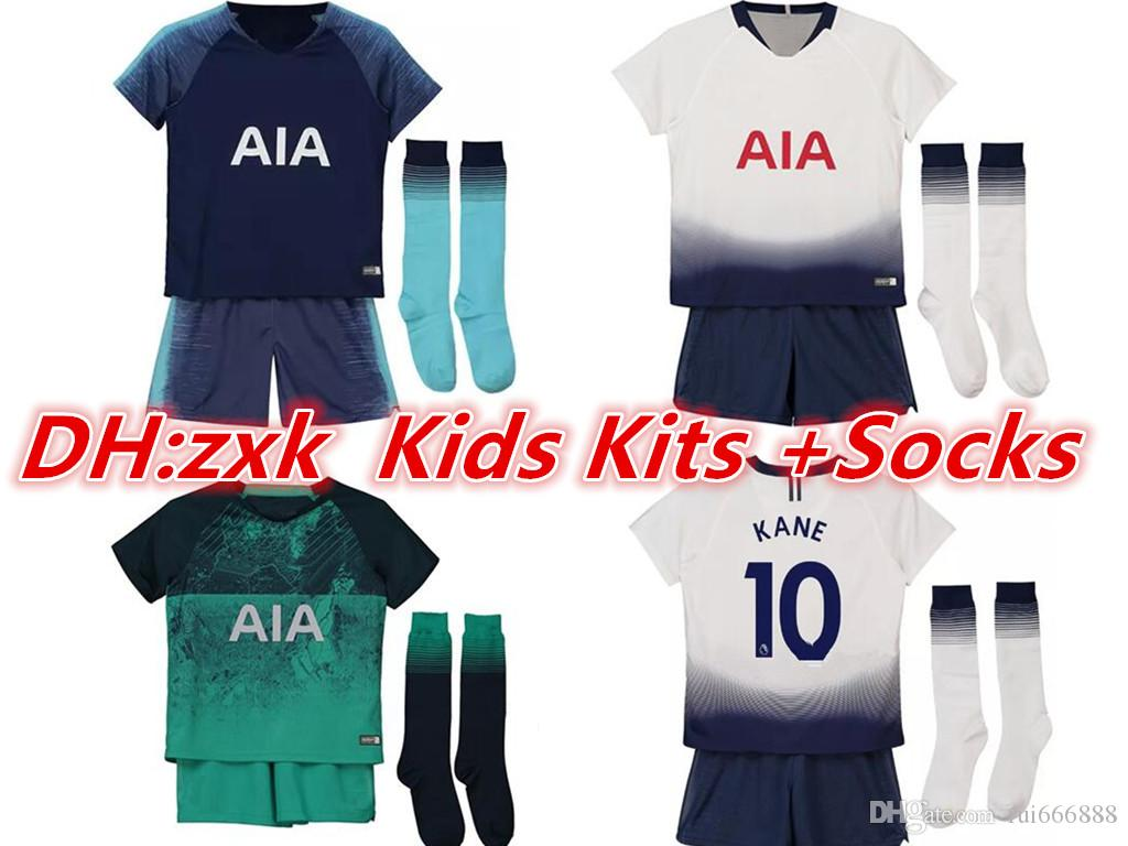 18 19 Kids Kits +Socks Tottenhames KANE Jerseys Home Away Third White 2019  2018 Spurs LAMELA ERIKSEN DELE SON Away Blue Soccer Jerseys DELE Spurs KANE  . dce084a35