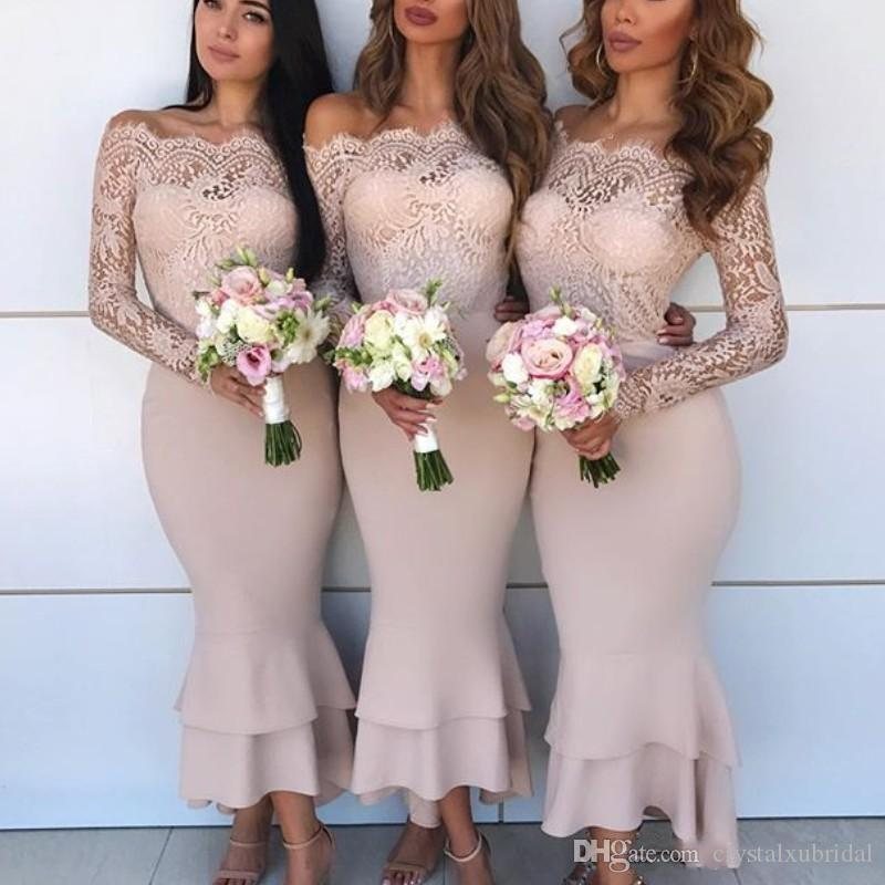 97922101961 2018 Mermaid Bridesmaid Dresses Off Shoulder Lace Appliques Illusion Long  Sleeves Tiered Ruffles Wedding Guest Dress Maid Of Honor Gowns Dusty Pink  ...