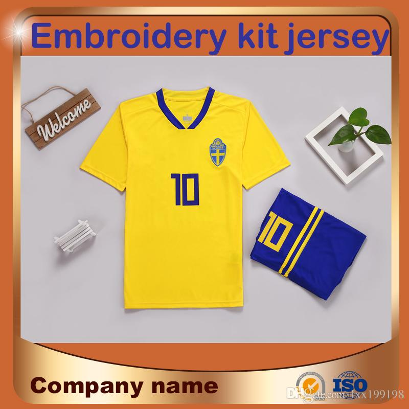c88c8c70c 2019 2018 World Cup Sweden Team Kit Soccer Jersey  10 IBRAHIMOVIC Home  Soccer Shirt Short Sleeve Group Purchase Embroidery Suit Football From  Lxx199198